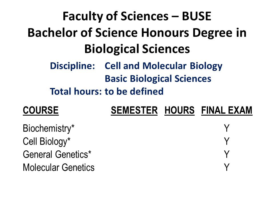 Faculty of Sciences – BUSE Bachelor of Science Honours Degree in Biological Sciences COURSESEMESTERHOURSFINAL EXAM Biochemistry*Y Cell Biology*Y Gener