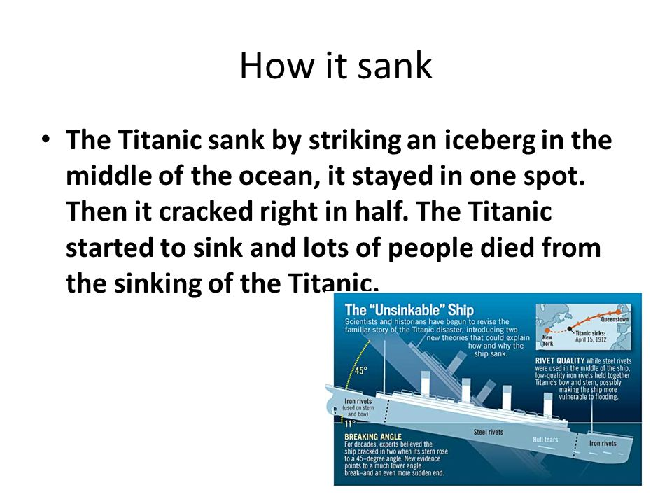 How it sank The Titanic sank by striking an iceberg in the middle of the ocean, it stayed in one spot. Then it cracked right in half. The Titanic star