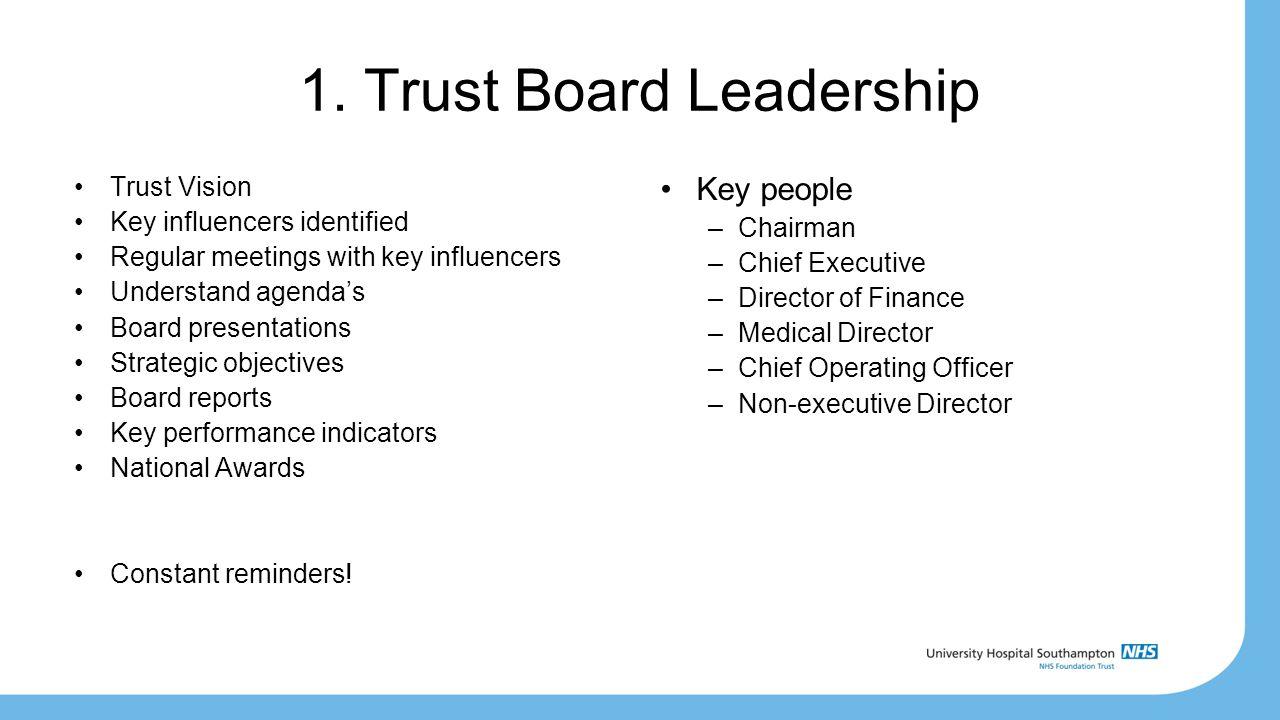 1. Trust Board Leadership Trust Vision Key influencers identified Regular meetings with key influencers Understand agenda's Board presentations Strate