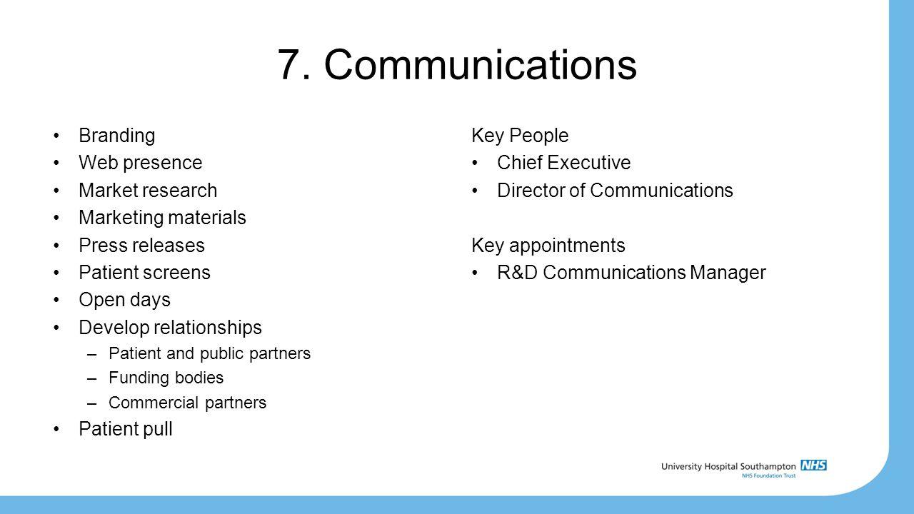 7. Communications Branding Web presence Market research Marketing materials Press releases Patient screens Open days Develop relationships –Patient an