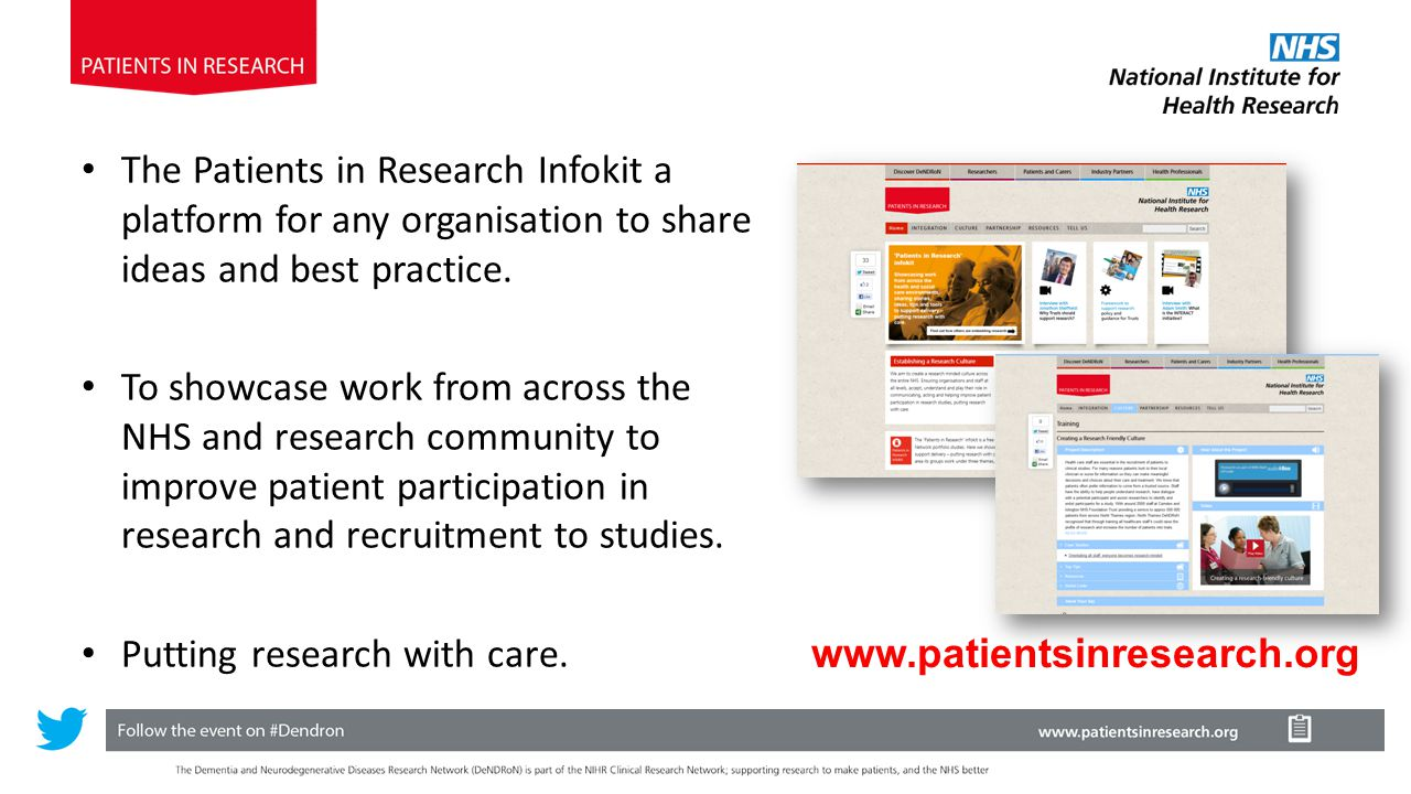The Patients in Research Infokit a platform for any organisation to share ideas and best practice.