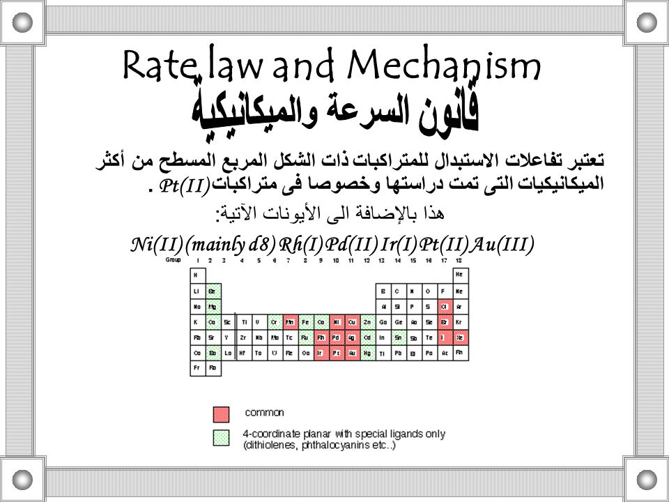 Rate law and Mechanism تعتبر تفاعلات الاستبدال للمتراكبات ذات الشكل المربع المسطح من أكثر الميكانيكيات التى تمت دراستها وخصوصا فى متراكبات Pt(II). هذا