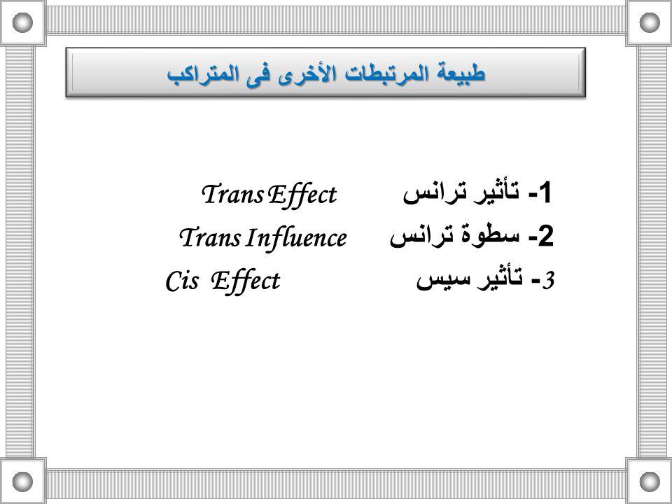 1 - تأثير ترانس Trans Effect 2 - سطوة ترانس Trans Influence 3 - تأثير سيس Cis Effect طبيعة المرتبطات الأخرى فى المتراكب