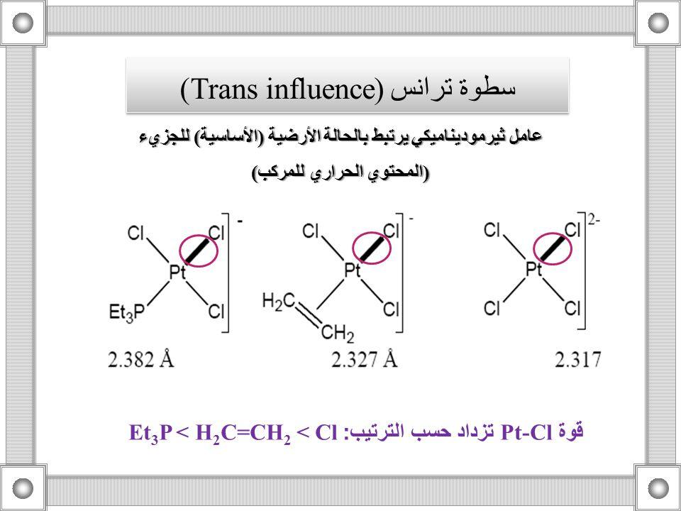 عامل ثيرموديناميكي يرتبط بالحالة الأرضية (الأساسية) للجزيء (المحتوي الحراري للمركب) قوة Pt-Cl تزداد حسب الترتيب :Et 3 P < H 2 C=CH 2 < Cl