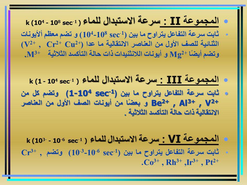 سرعة الاستبدال للماء المجموعة II : سرعة الاستبدال للماء k (10 4 - 10 8 sec -1 ).ثابت سرعة التفاعل يتراوح ما بين (10 4 -10 8 sec -1 ) و تضم معظم ألأيون