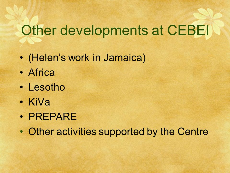 Other developments at CEBEI (Helen's work in Jamaica) Africa Lesotho KiVa PREPARE Other activities supported by the Centre