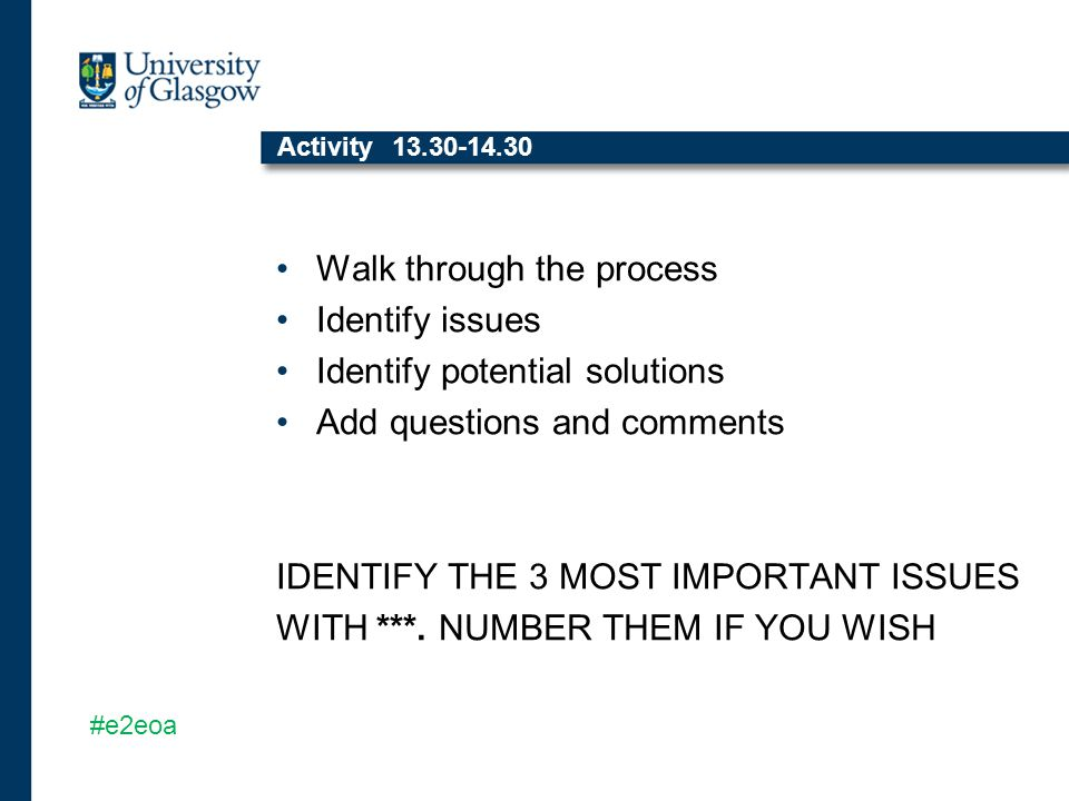 Activity 13.30-14.30 Walk through the process Identify issues Identify potential solutions Add questions and comments IDENTIFY THE 3 MOST IMPORTANT ISSUES WITH ***.