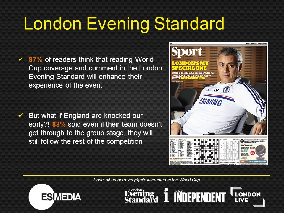 87% of readers think that reading World Cup coverage and comment in the London Evening Standard will enhance their experience of the event But what if England are knocked our early .