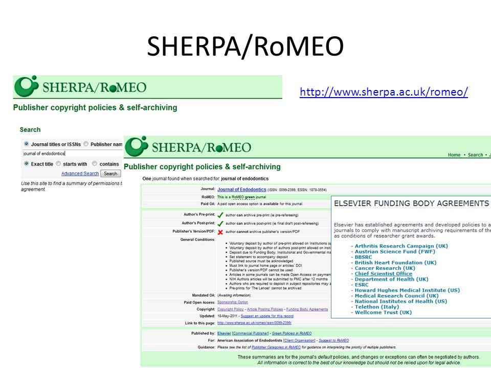 SHERPA/RoMEO http://www.sherpa.ac.uk/romeo/