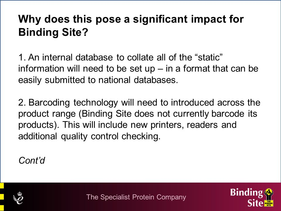 """Why does this pose a significant impact for Binding Site? 1. An internal database to collate all of the """"static"""" information will need to be set up –"""