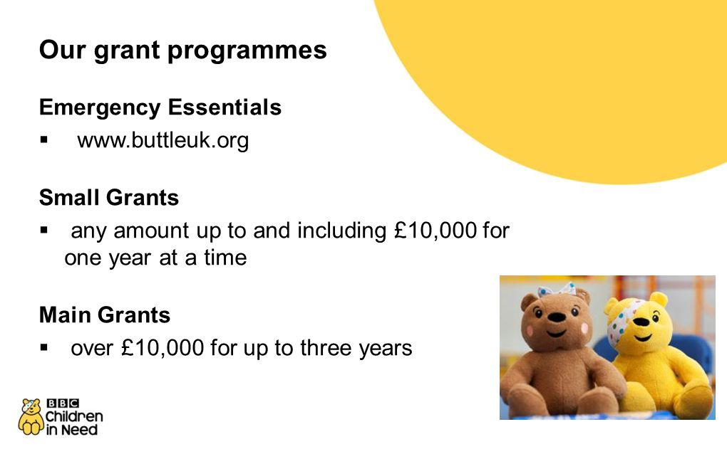 Our grant programmes Emergency Essentials  www.buttleuk.org Small Grants  any amount up to and including £10,000 for one year at a time Main Grants  over £10,000 for up to three years