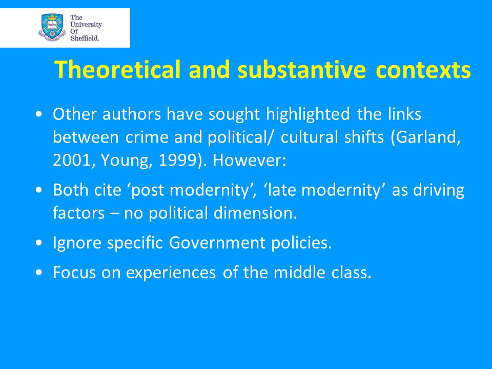 Theoretical and substantive contexts Other authors have sought highlighted the links between crime and political/ cultural shifts (Garland, 2001, Young, 1999).