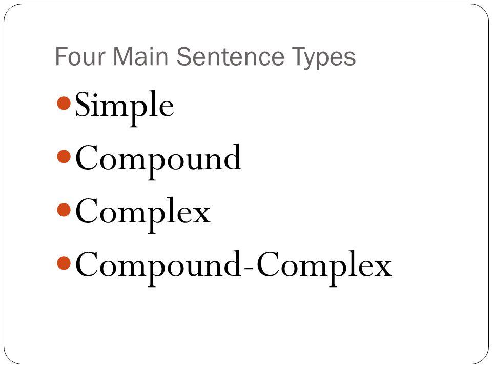 Four Main Sentence Types Simple Compound Complex Compound-Complex