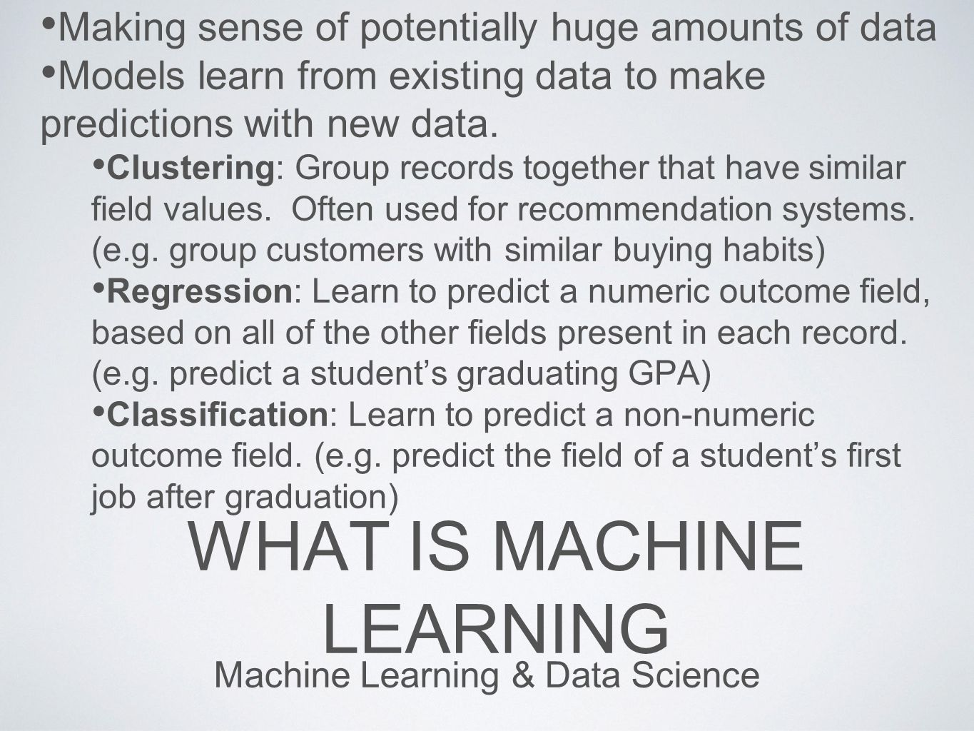 EVOLUTION OF ML From Simple Models to State of the Art