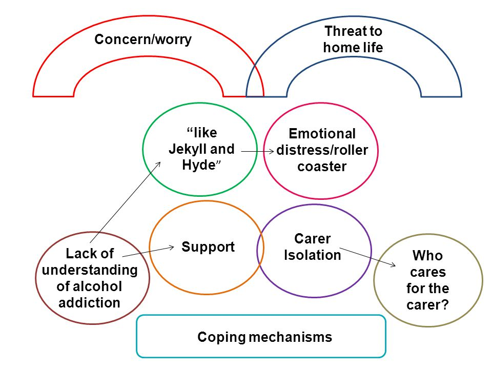 like Jekyll and Hyde Emotional distress/roller coaster Coping mechanisms Support Carer Isolation Who cares for the carer.