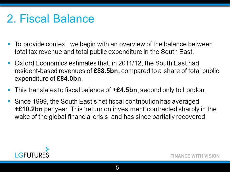 Fiscal Balance 6 Figure 1 – South East Fiscal Balance