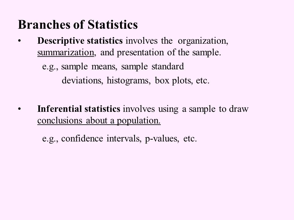 Branches of Statistics Descriptive statistics involves the organization, summarization, and presentation of the sample.