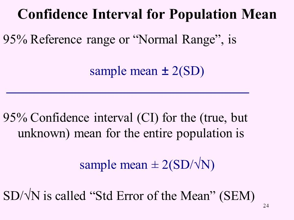 Confidence Interval for Population Mean 95% Reference range or Normal Range , is sample mean ± 2(SD) _____________________________________ 95% Confidence interval (CI) for the (true, but unknown) mean for the entire population is sample mean ± 2(SD/√N) SD/√N is called Std Error of the Mean (SEM) 24