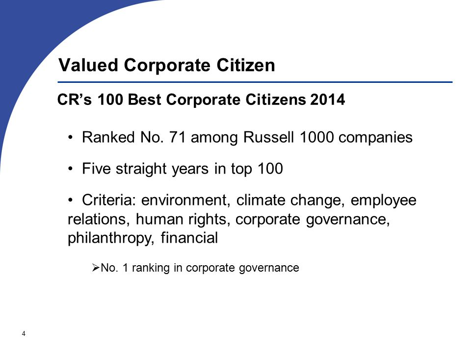 4 Valued Corporate Citizen CR's 100 Best Corporate Citizens 2014 Ranked No.