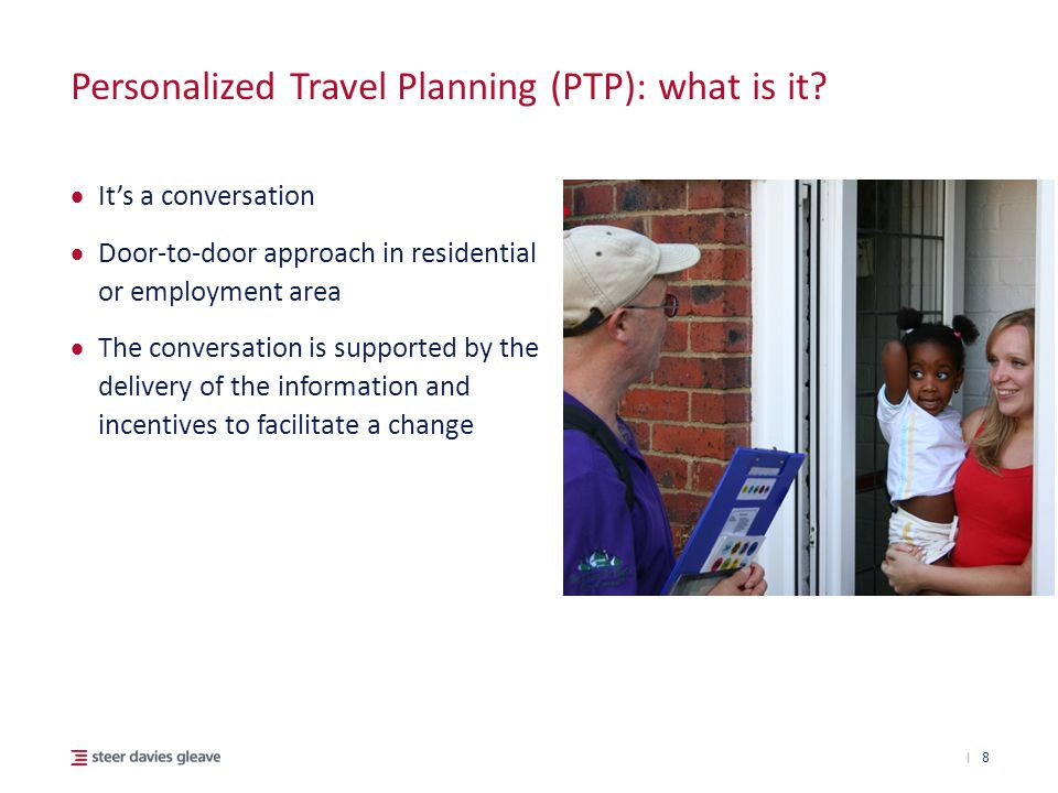| Personalized Travel Planning (PTP): what is it?  It's a conversation  Door-to-door approach in residential or employment area  The conversation i