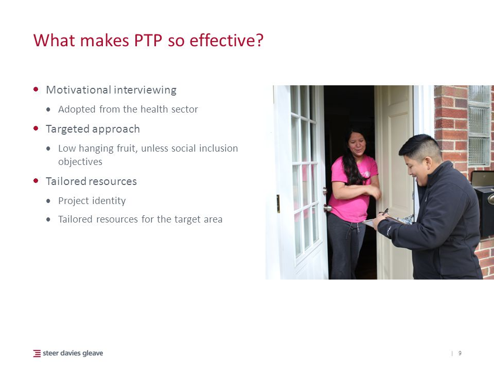 | What makes PTP so effective?  Motivational interviewing  Adopted from the health sector  Targeted approach  Low hanging fruit, unless social inc
