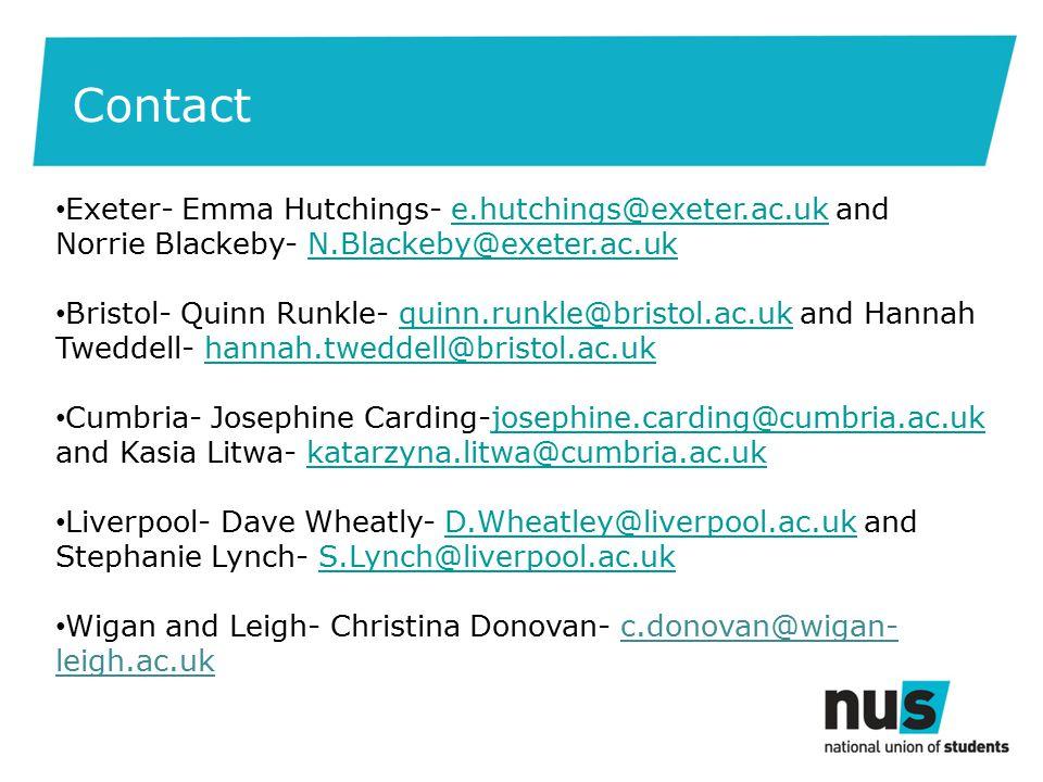 Exeter- Emma Hutchings- e.hutchings@exeter.ac.uk and Norrie Blackeby- N.Blackeby@exeter.ac.uke.hutchings@exeter.ac.ukN.Blackeby@exeter.ac.uk Bristol- Quinn Runkle- quinn.runkle@bristol.ac.uk and Hannah Tweddell- hannah.tweddell@bristol.ac.ukquinn.runkle@bristol.ac.ukhannah.tweddell@bristol.ac.uk Cumbria- Josephine Carding-josephine.carding@cumbria.ac.uk and Kasia Litwa- katarzyna.litwa@cumbria.ac.ukjosephine.carding@cumbria.ac.ukkatarzyna.litwa@cumbria.ac.uk Liverpool- Dave Wheatly- D.Wheatley@liverpool.ac.uk and Stephanie Lynch- S.Lynch@liverpool.ac.ukD.Wheatley@liverpool.ac.ukS.Lynch@liverpool.ac.uk Wigan and Leigh- Christina Donovan- c.donovan@wigan- leigh.ac.uk Contact