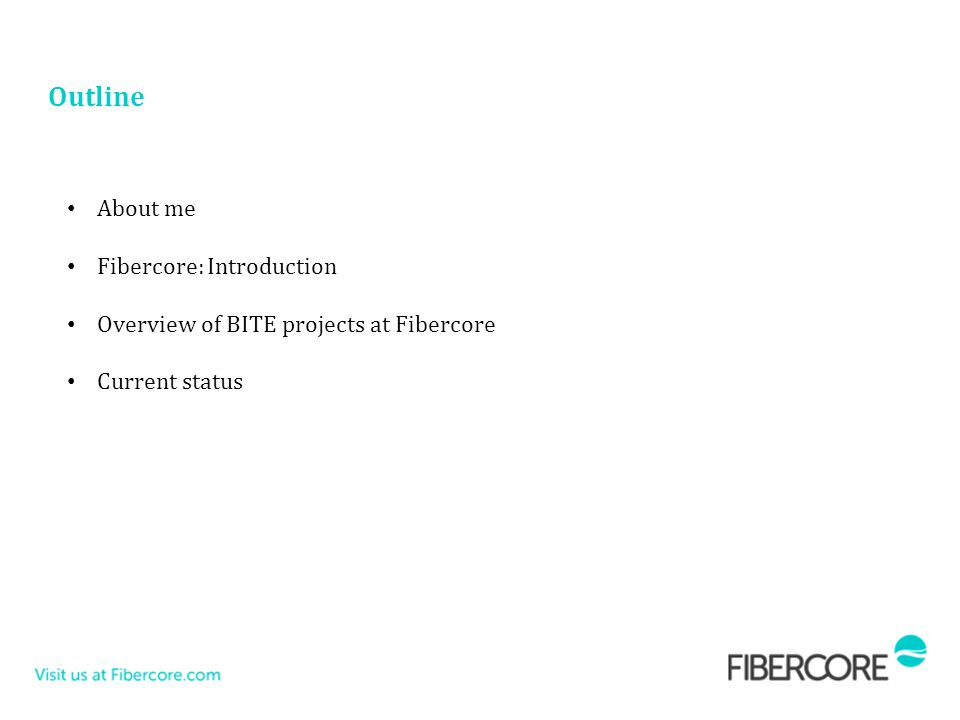 Outline About me Fibercore: Introduction Overview of BITE projects at Fibercore Current status