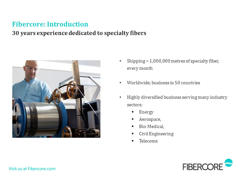Fibercore: Introduction Shipping > 1,000,000 metres of specialty fiber, every month Worldwide; business in 50 countries Highly diversified business se