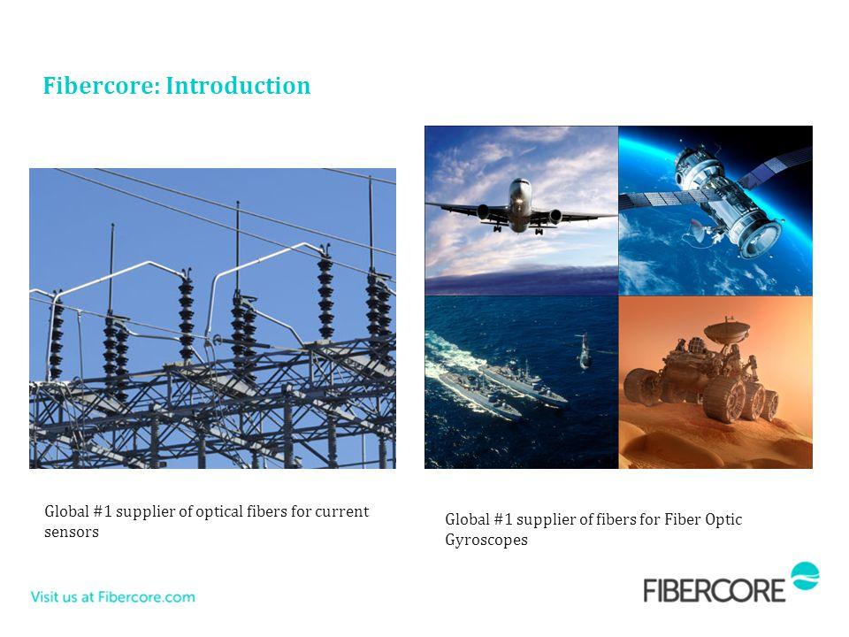 Global #1 supplier of fibers for Fiber Optic Gyroscopes Global #1 supplier of optical fibers for current sensors Fibercore: Introduction