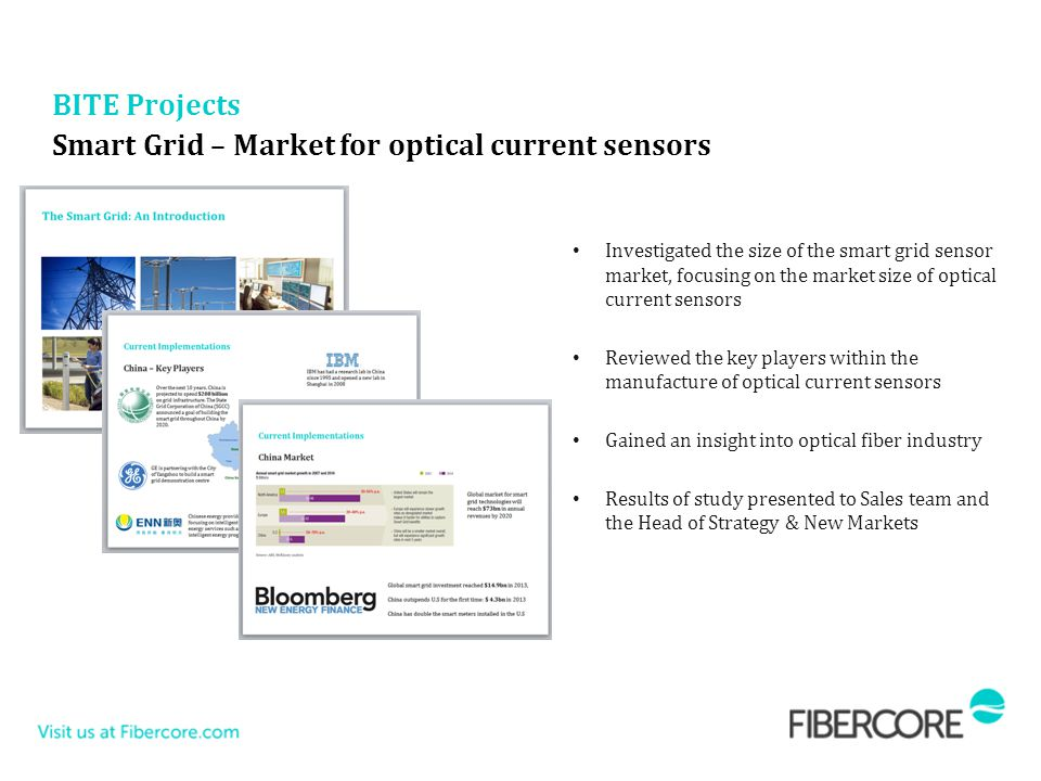 Smart Grid – Market for optical current sensors Investigated the size of the smart grid sensor market, focusing on the market size of optical current sensors Reviewed the key players within the manufacture of optical current sensors Gained an insight into optical fiber industry Results of study presented to Sales team and the Head of Strategy & New Markets BITE Projects
