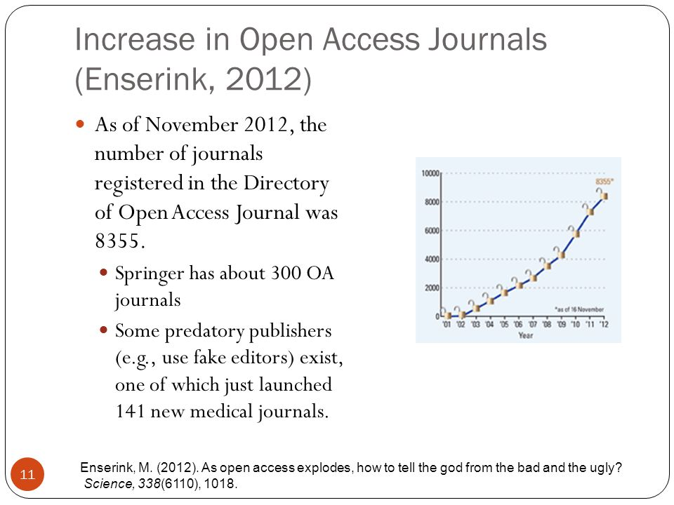 Increase in Open Access Journals (Enserink, 2012) 11 As of November 2012, the number of journals registered in the Directory of Open Access Journal was 8355.