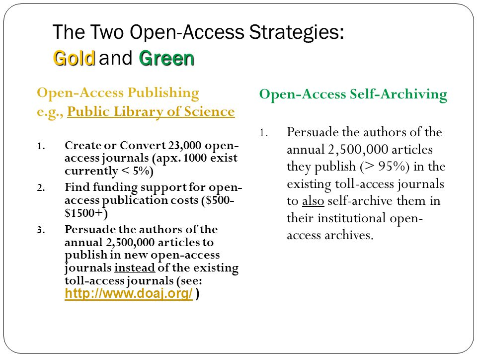 GoldGreen The Two Open-Access Strategies: Gold and Green 6 Open-Access Publishing e.g., Public Library of SciencePublic Library of Science 1.