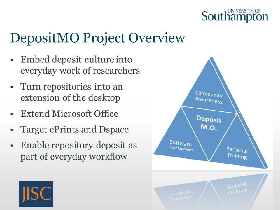 DepositMO Project Overview Embed deposit culture into everyday work of researchers Turn repositories into an extension of the desktop Extend Microsoft Office Target ePrints and Dspace Enable repository deposit as part of everyday workflow