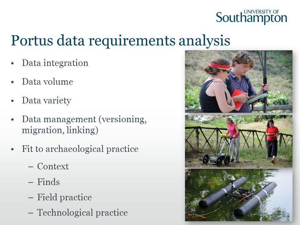 Portus Data Guidance Archaeology Data Service – Guides to Good Practice; Deposit CIDOC CRM The English Heritage STAR project The Forum for Information Standards in Heritage (FISH) MIDAS XML schema JISC INCREMENTAL and SUDAMIH Temporal period metadata: English Heritage Timelines Thesaurus; COMMONERAS Asset management: JISCDIGITALMEDIA; EXIF, XMP or IPTC data Getty Art and Architecture Thesaurus Collections Trust's Archaeological Objects Thesaurus are used.