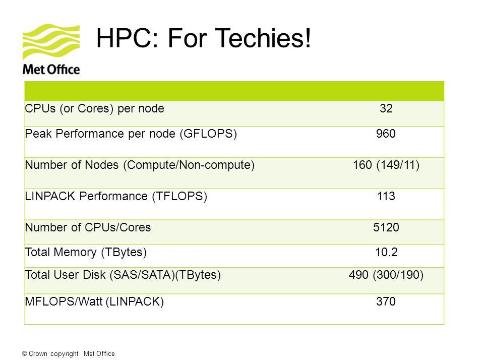 HPC: For Techies! CPUs (or Cores) per node32 Peak Performance per node (GFLOPS)960 Number of Nodes (Compute/Non-compute)160 (149/11) LINPACK Performan