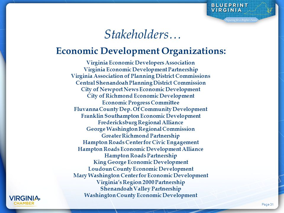 Page 31 Economic Development Organizations: Stakeholders… Virginia Economic Developers Association Virginia Economic Development Partnership Virginia Association of Planning District Commissions Central Shenandoah Planning District Commission City of Newport News Economic Development City of Richmond Economic Development Economic Progress Committee Fluvanna County Dep.
