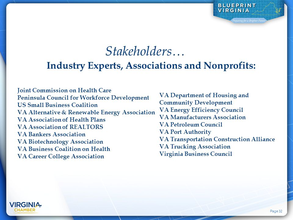 Page 32 Industry Experts, Associations and Nonprofits: VA Department of Housing and Community Development VA Energy Efficiency Council VA Manufacturer