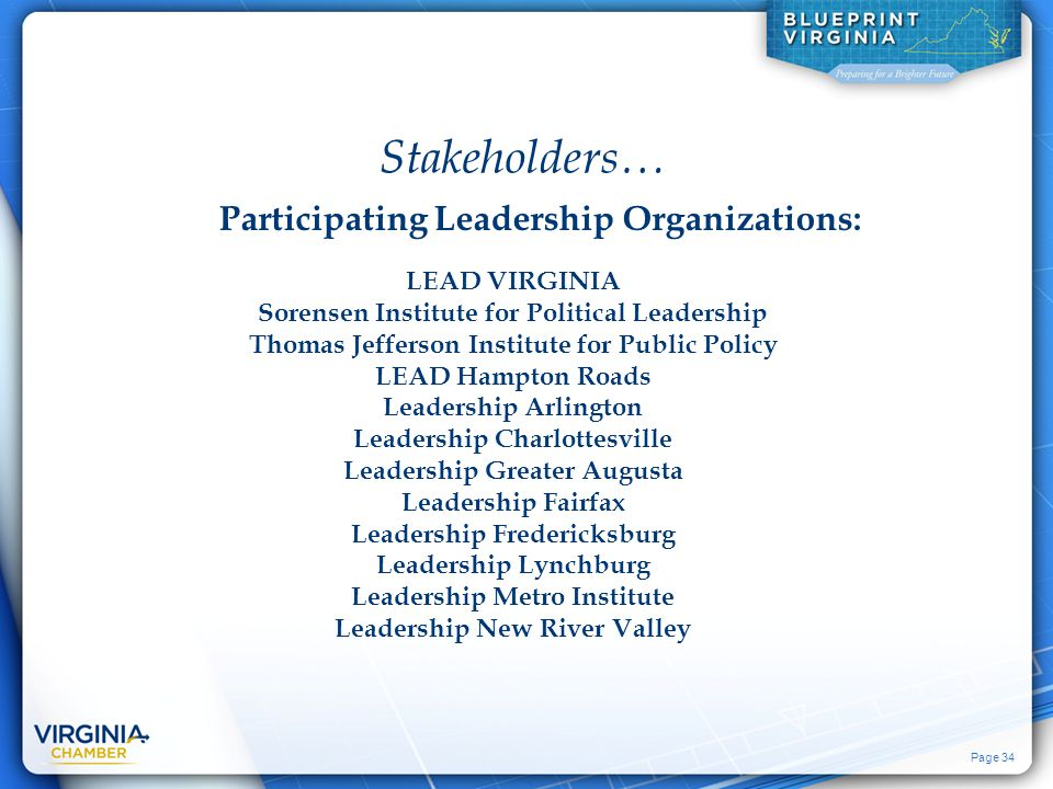 Page 34 LEAD VIRGINIA Sorensen Institute for Political Leadership Thomas Jefferson Institute for Public Policy LEAD Hampton Roads Leadership Arlington