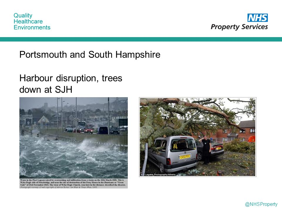 @NHSProperty Portsmouth and South Hampshire Harbour disruption, trees down at SJH