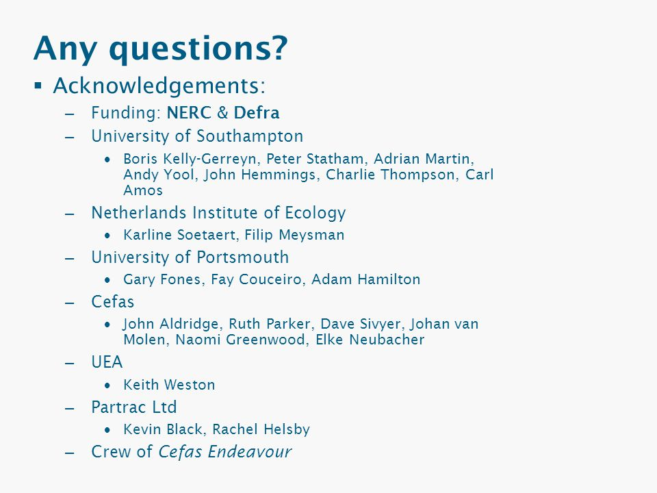 Any questions?  Acknowledgements: – Funding: NERC & Defra – University of Southampton  Boris Kelly-Gerreyn, Peter Statham, Adrian Martin, Andy Yool,