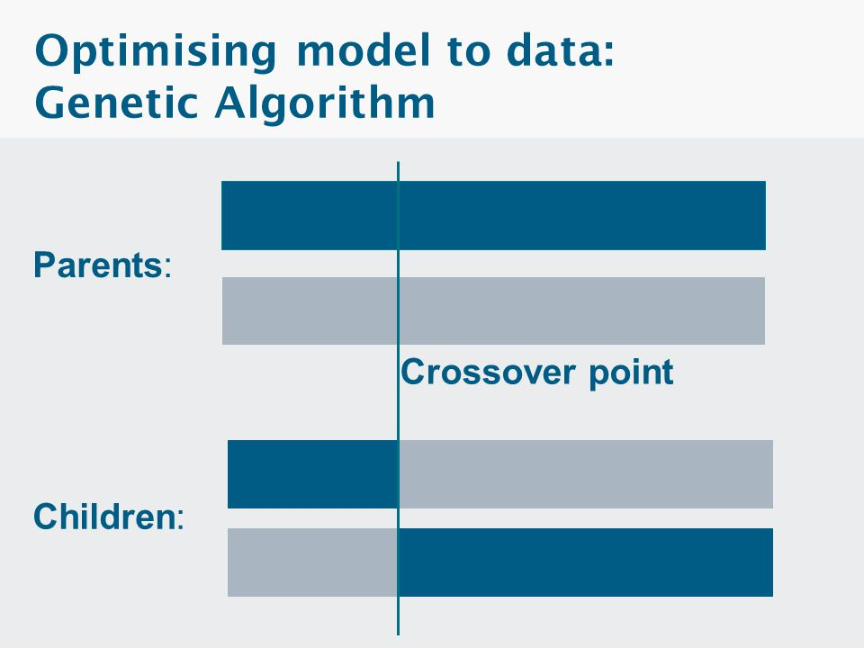 Optimising model to data: Genetic Algorithm  The population is the set of free parameters  A generation is a set of model runs equal to the number o