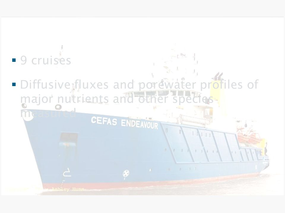 Experimental aspects  9 cruises  Diffusive fluxes and porewater profiles of major nutrients and other species measured