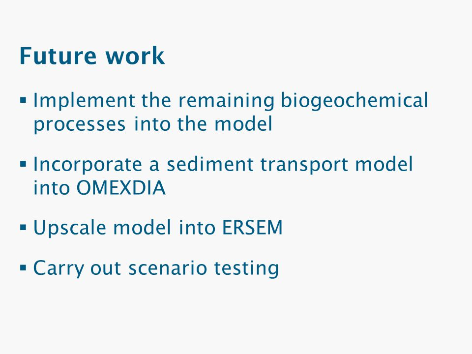 Future work  Implement the remaining biogeochemical processes into the model  Incorporate a sediment transport model into OMEXDIA  Upscale model in
