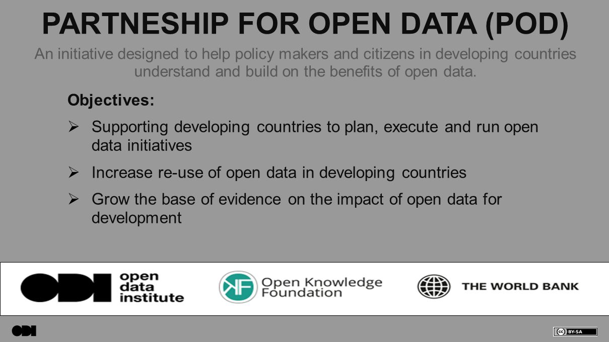 PARTNESHIP FOR OPEN DATA (POD) Objectives:  Supporting developing countries to plan, execute and run open data initiatives  Increase re-use of open data in developing countries  Grow the base of evidence on the impact of open data for development An initiative designed to help policy makers and citizens in developing countries understand and build on the benefits of open data.