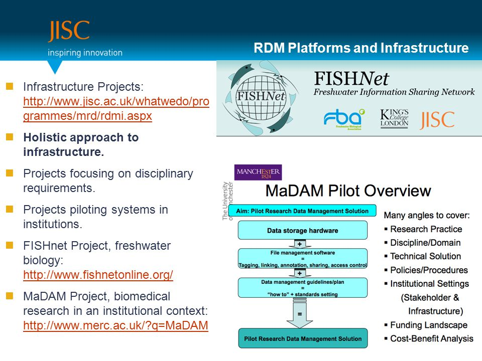 RDM Platforms and Infrastructure Infrastructure Projects: http://www.jisc.ac.uk/whatwedo/pro grammes/mrd/rdmi.aspx http://www.jisc.ac.uk/whatwedo/pro