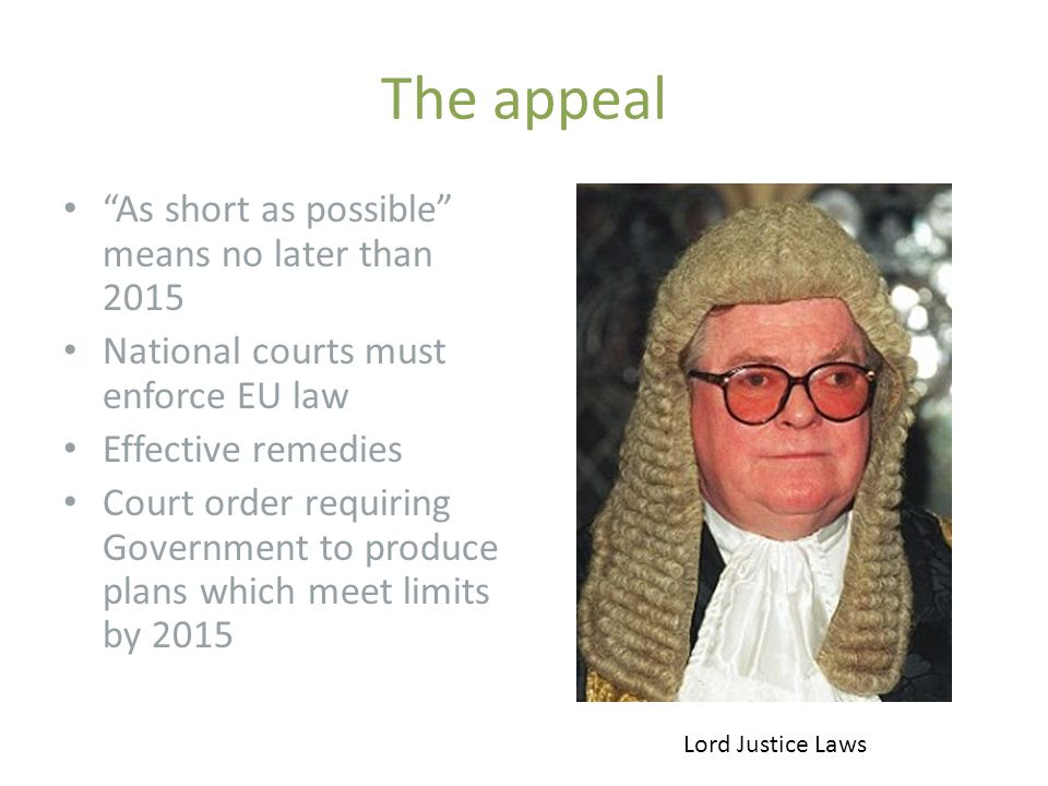 "The appeal ""As short as possible"" means no later than 2015 National courts must enforce EU law Effective remedies Court order requiring Government to"