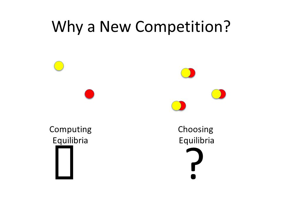 Why a New Competition Computing Equilibria ✓ Choosing Equilibria