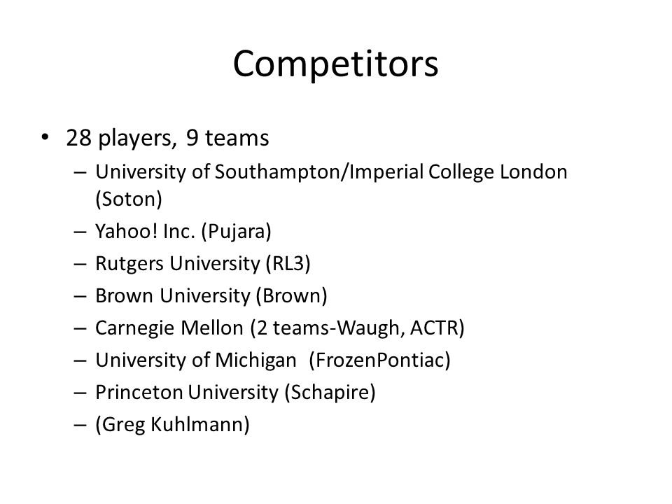 Competitors 28 players, 9 teams – University of Southampton/Imperial College London (Soton) – Yahoo.
