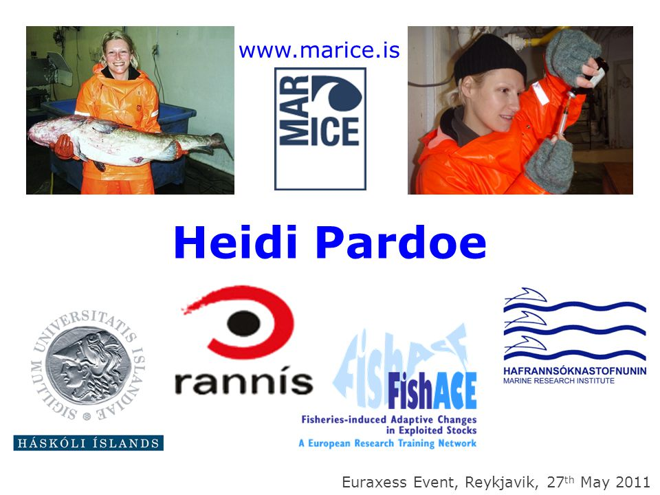 My story – timeline & overview July 2005 – graduated BSc Marine Biology & Oceanography, University of Southampton, UK November 2005 – moved to Iceland as Marie-Curie Early- Stage Researcher in EU Research Training Network 'FishACE' (FP6).
