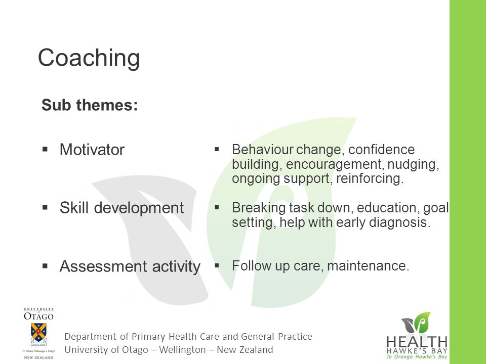Department of Primary Health Care and General Practice University of Otago – Wellington – New Zealand Coaching Sub themes:  Motivator  Skill develop